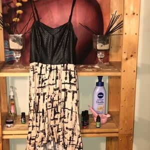 Printed Faux Leather Top Sundress